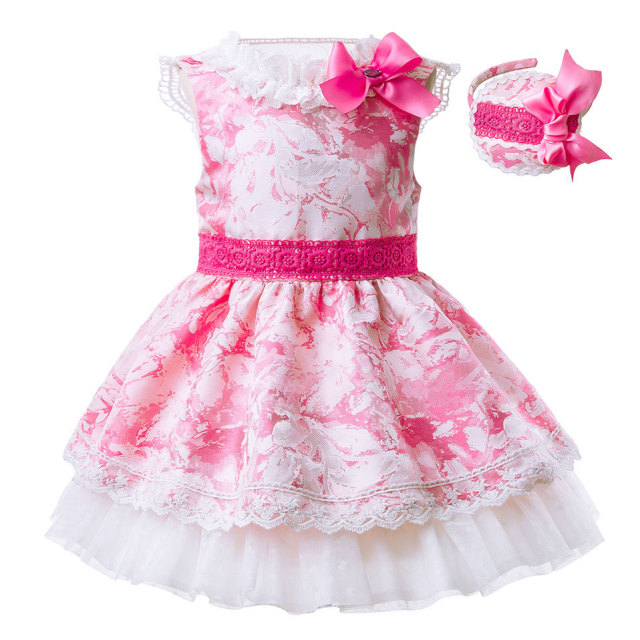 Pink Flower Print Kids Dress With Headband