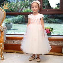 Nimble Girls Dresses Satin Cotton Mesh Big Bow Appliques Flowers for Wedding Birthday Party Princess Vestido