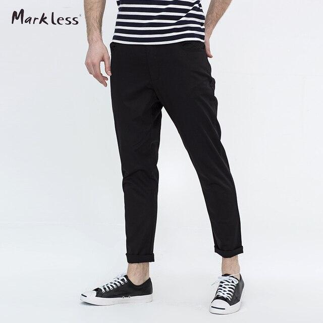 Markless Corredores Hombres Moda Harem Pantalones Casuales Masculinos Delgado Flaco Pantalones Sarouel Homme Ropa hombre Del Todo-Fósforo Negro