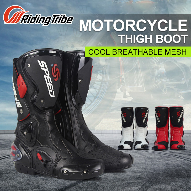 PRO-BIKER Mid-Calf Leather Motorcycle Boots SPEED Moto Racing Motocross Motorbike Riding Shoes botas Men Black White Red riding tribe moto racing pu leather motorcycle boots moto racing motocross off road mid calf motorbike shoes black white red