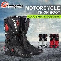 PRO BIKER Mid Calf Leather Motorcycle Boots SPEED Moto Racing Motocross Motorbike Riding Shoes botas Men Black White Red