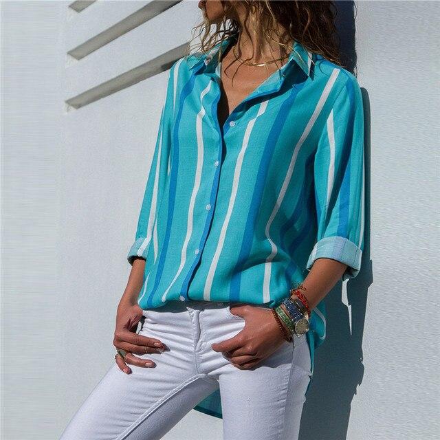 Ladies Long Sleeve Chiffon Striped Shirt 3