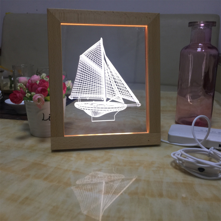 Led night lamp manufacturers - Manufacturer Wood Photo Frame Acrylic 3d Stereoscopic Vision Lamp Usb Atmosphere Light Led Sailboat Night Light