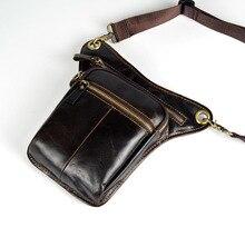 NEWEEKEND Men's Cowhide Geunine Leather Travel Motorcycle Messenger Shoulder Hip Belt Fanny Pack Waist Drop Leg Bag LZ-34422