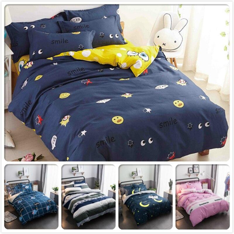 3/4 pcs Bedding Set Kids Soft Skin Cotton Bed linen Single Twin Queen King Size Duvet Cover 1.35m 1.5m 1.8m Bedclothes Bedspread