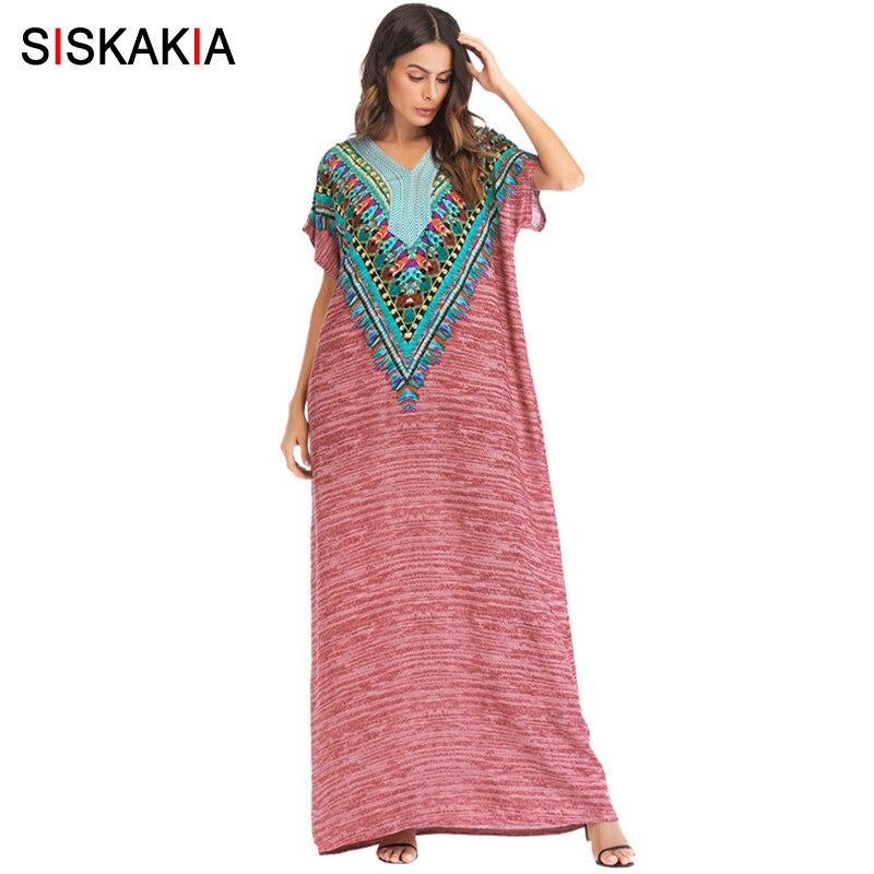 Siskakia Vintage Ethnique Broderie Longue Robe Casual Urbain Lâche Maxi Robes Femmes 2018 Grande Taille robes de chambre Arabe musulman