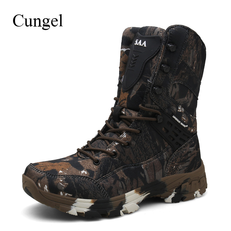 Cungel Outdoor Men Hiking Boots Camouflage Hunting Boots Waterproof Military Combat Tactical Boots Work Ankle Boots Climbing