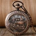 Classic Trendy Men Half Hunter Women Running Steam Train Chain Pocket Watch Fashion Fob Gift Mechanical Hand Wind Watches