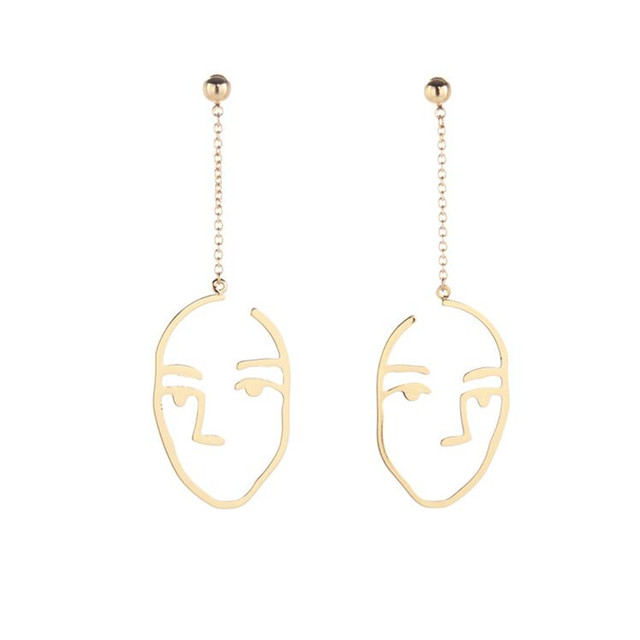 Punk Style Gold Color Face Head Drop Earrings For Women Party Gift Chic Hollow Abstract Long Dangle Earring Statement Jewelry