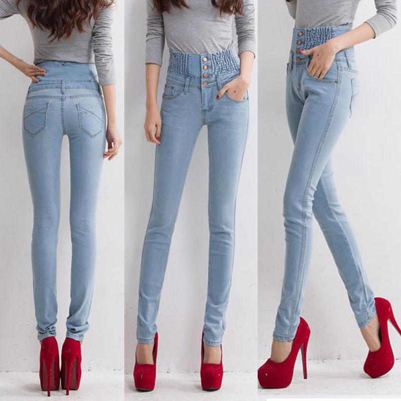 hirigin women Jeans With High Waist Jeans Woman High Elastic plus size Women Jeans femme washed