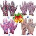 NMSafety 3 pairs Легкость 13 gauge цветок печати полиэстер лайнер с покрытием PU перчатки, женщин садовые перчатки Мода