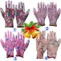NMSafety 3 pairs Lightness 13 gauge flower print polyester liner coated PU gloves,women garden gloves Fashion