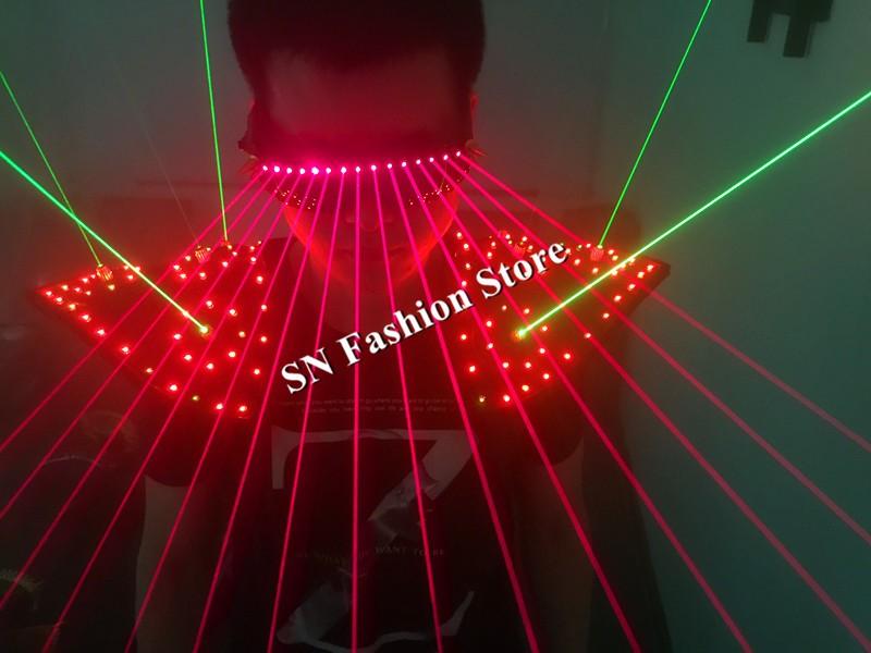 T16 Colorful light ballroom laser vest dj laser costumes dance wears laser glasses red laser suit led clothes shoulder led vest 31