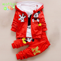 2016 New Chidren Kids Boys Clothing Set Autumn Winter 3 Piece Sets Hooded Coat Suits Fall