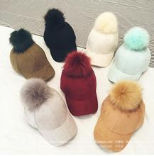 2016 new gorras light board plush hair ball hat autumn and winter cap shoes wild bend along the cap wholesale