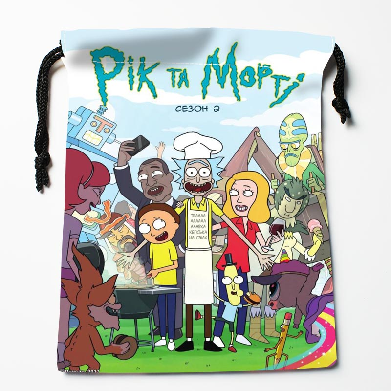 New Custom Rick And Morty Drawstring Bags Storage Printed Gift Bags  Custom Drawstring Bags Compression Type Bags