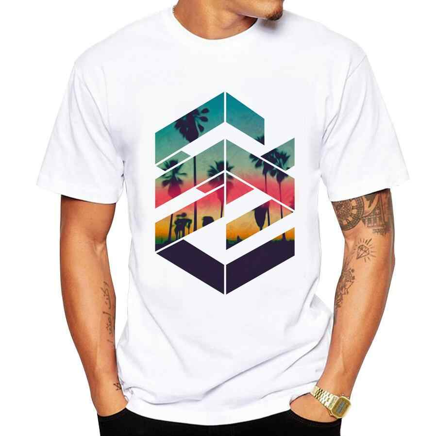 Geometry T Shirt men Summer fashion High Quality t-shirt casual white print O-Neck print male men top tees