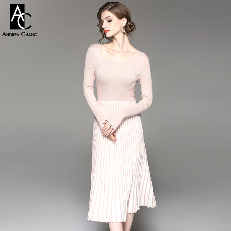 autumn winter woman dress pink black knitted dress white strip pleated bottom square collar nylon cotton calf length long dress readit knitting dress 2017 winter woman dress dark blue wine red knitted dress calf length hollow out bottom casual dress d2558