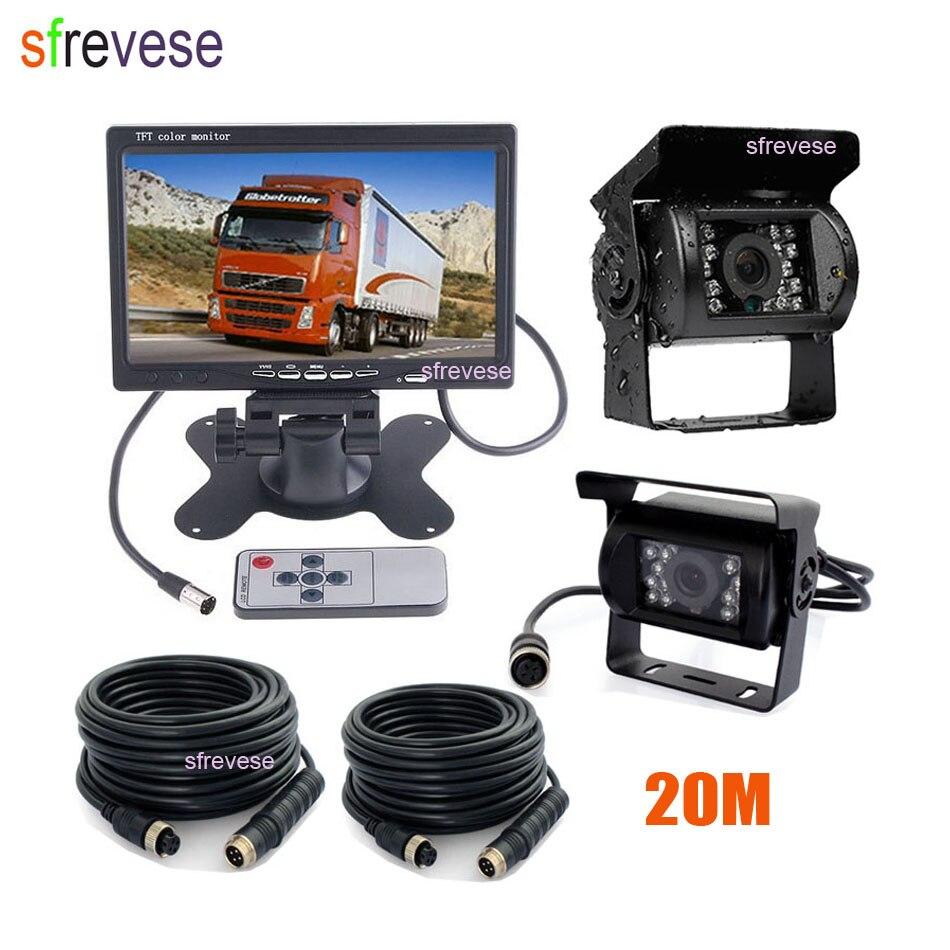7 LCD Moniteur de Vue Arrière de Voiture Kit + 2x18 IR Vision Nocturne Caméra de Recul CCD 4Pin 20 m Câble Pour Le Camion De Bus Camping-Car