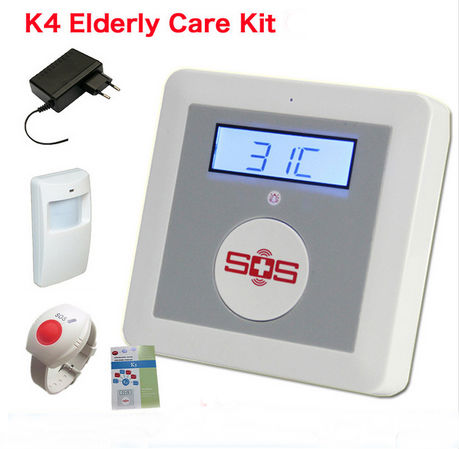 ФОТО DIY House Alarm Fire Intrusion Safety Burglar Alarm GSM Senior Telecare SOS Call Wireless PIR Door Detector For Elderly Care