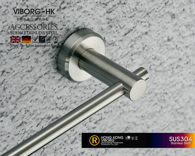 Viborg Deluxe Sus304 Stainless Steel 60cm Bathroom Single Towel Bar Holder Hanger, Brushed, Xs-601