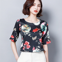 Korean Fashion Silk Women Blouses Satin Floral Print White Shirts Plus Size XXXL Blusas Femininas Elegante Ladies Tops