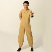 2018 Hot Sale Cotton Linen Solid Yellow Men's Chinese Traditional Tai Chi Suit Long Sleeve V Neck None Pattern M XXXL M060