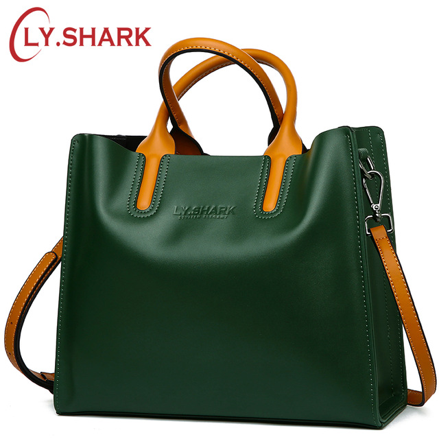 LY.SHARK Big Messenger Bag Women Shoulder Bag Female Bag Ladies Genuine Leather Bags For Women 2018 Women Handbags Green Black ladies genuine leather bag women messenger bags handbags women famous brands crossbody bags for women shoulder bag big