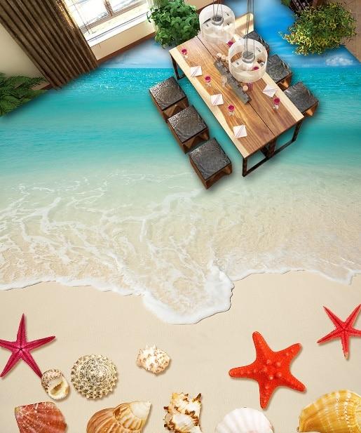 [Self-Adhesive] 3D Starfish Beach Sea 7 Non-slip Waterproof Photo Self-Adhesive Floor Mural Sticker WallPaper Murals Wall Print