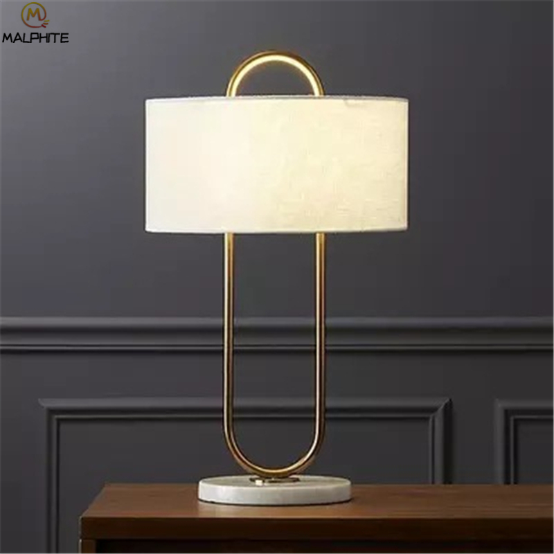 Modern Linen Table Lamp Abajurs Golden Iron Home Decor Lamps Table Fabric Bedroom Nightstand Lamp Luminaire Table Light Led Lamps