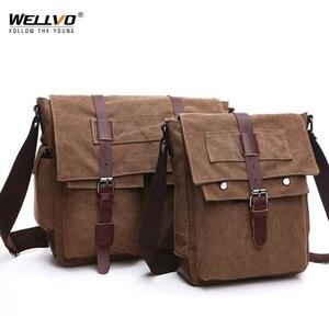 Image 2 - الرجعية الرجال حقيبة ساع حقائب يدوية من القماش الترفيه العمل حقيبة سفر رجل الأعمال حقائب كروسبودي حقيبة للذكور Bolsas XA108ZC
