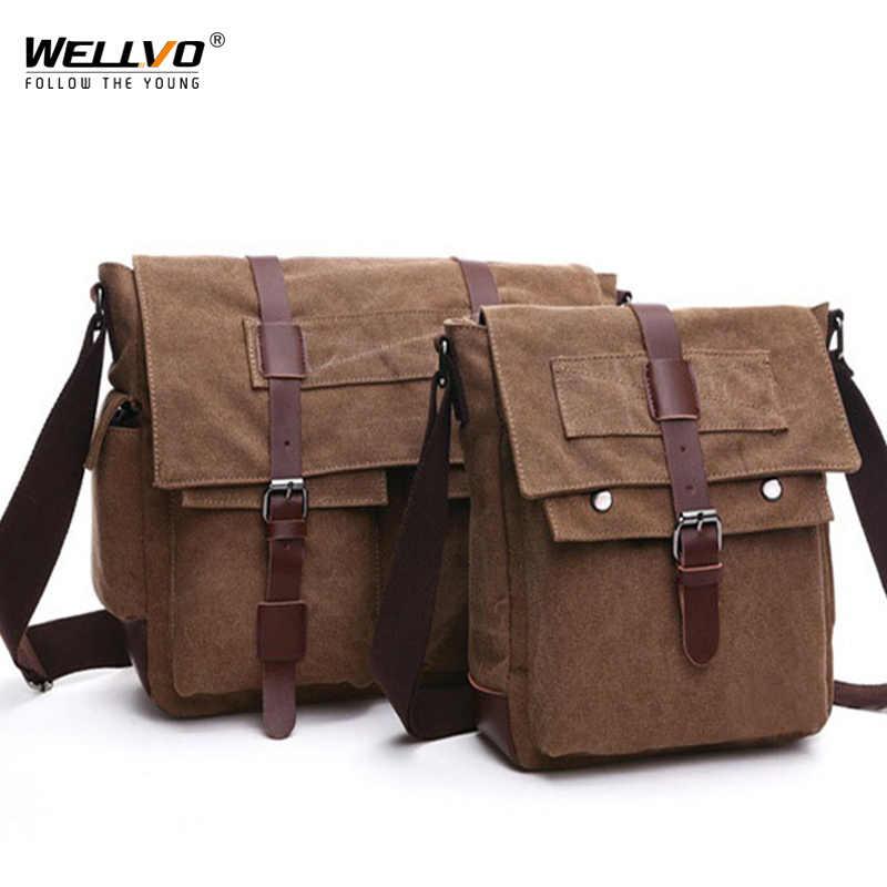 Rétro hommes sacs de messager toile sacs à main loisirs travail voyage sac homme affaires sacs à bandoulière porte-documents pour homme Bolsas XA108ZC