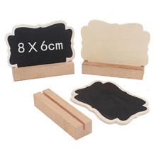 Купить с кэшбэком 5pcs/Lot Butterfly Wooden mini blackboard with card slot Chalkboard Stick Stand Holder Event Party Decor School Supplies