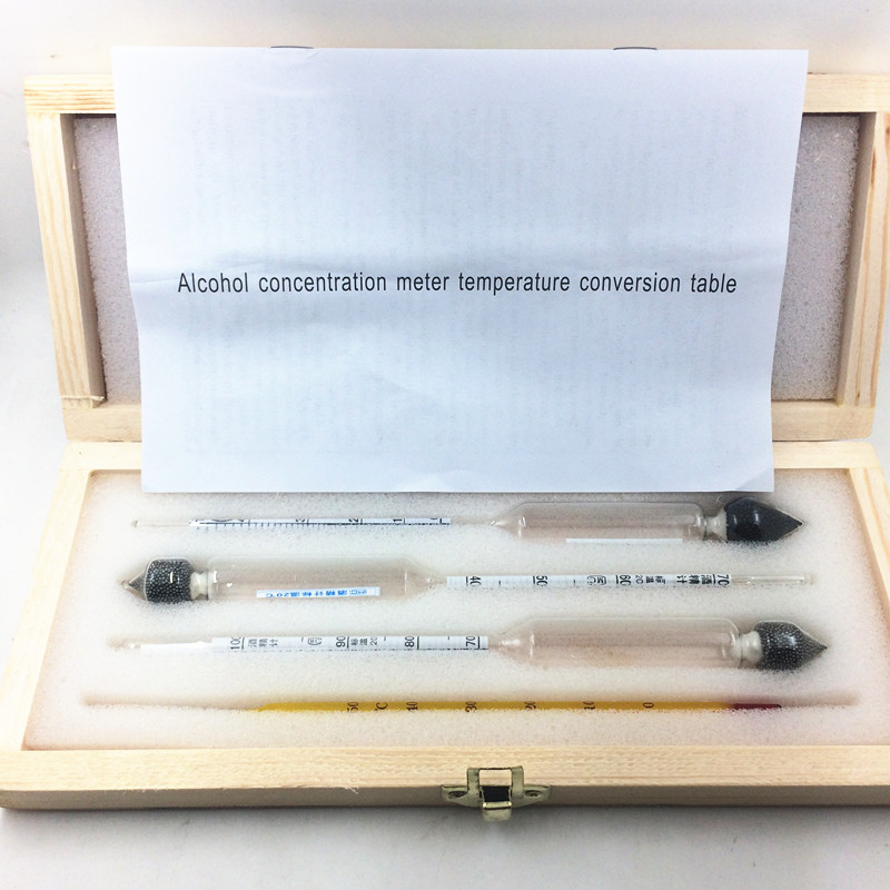 Alcoholmeter Alcohol Meter wine Concentration Meter Vodka Whiskey Alcohol Instrument Hydrometer Tester woodenbox English manual