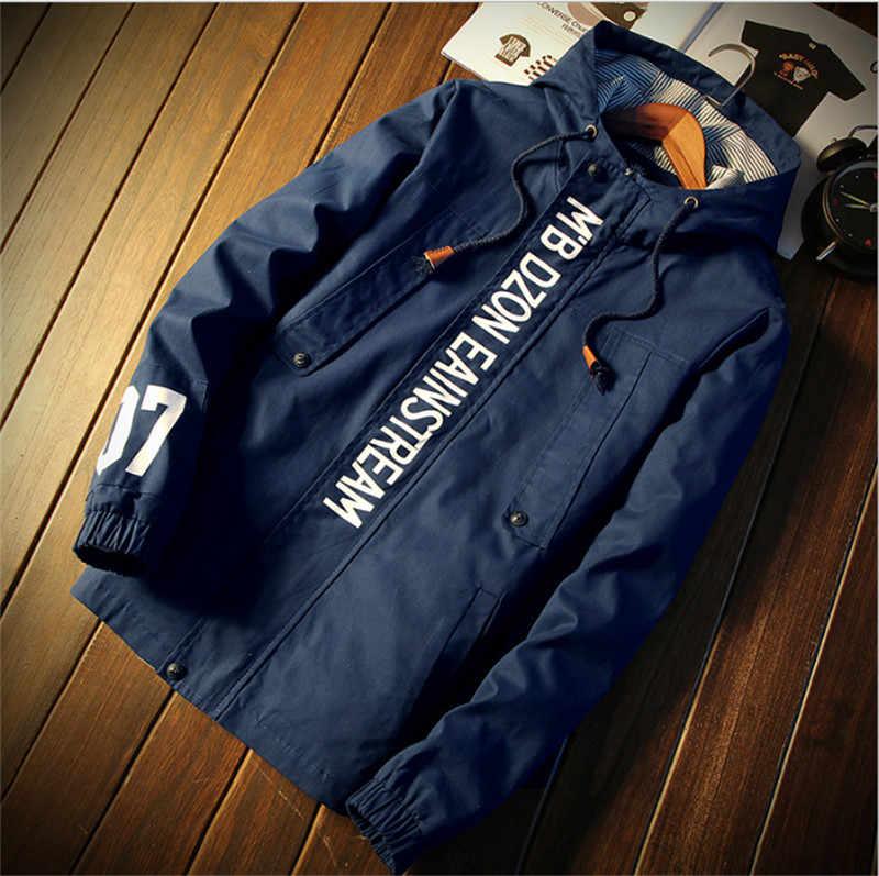 7fad7c6d594 Brand Men Hooded Thin Jacket plus size Quick Dry Windbreaker tops long  sleeve Waterproof casual jackets
