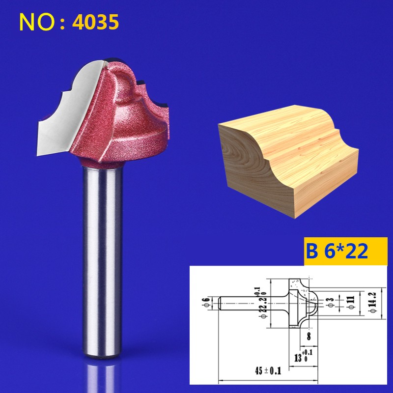 1pcs 6*22mm Chest/Door wood flat edge trimmer Lace knife engraving machine tool slotting milling cutter NO:4035 1pcs 6 16mm chest door engraving machine milling knife wood cutter router bit knives 3d lace woodworking milling cutter no 4046