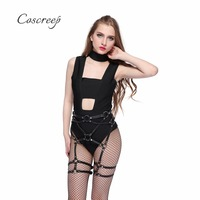 Fashion Punk Gothic 100% Handmade PU Leather Harness Thigh Leg Garter Belt Cross Waist Cincher Suspender Belt