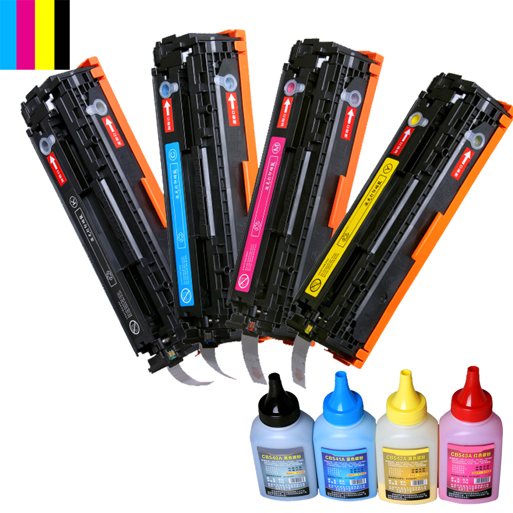 Compatible CB540A CB540 540A 540 CB541A CB542A CB543A 125A Color Toner Cartridge for HP LaserJet CP1215 CP1515n CP1518ni CM1312 replacement chip for hp laserjet cb540a print cartridge – black toner refill for hp1215 1515 1518