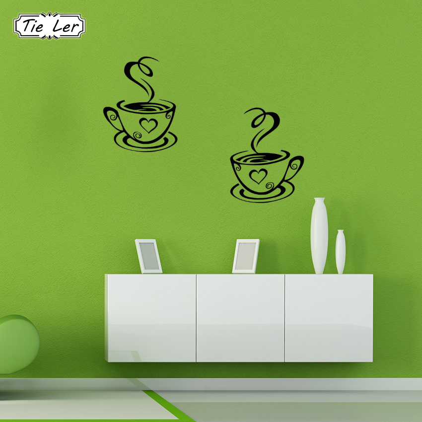 LER New Arrival Beautiful Design Coffee Cups Cafe Tea Wall - Wall stickers art