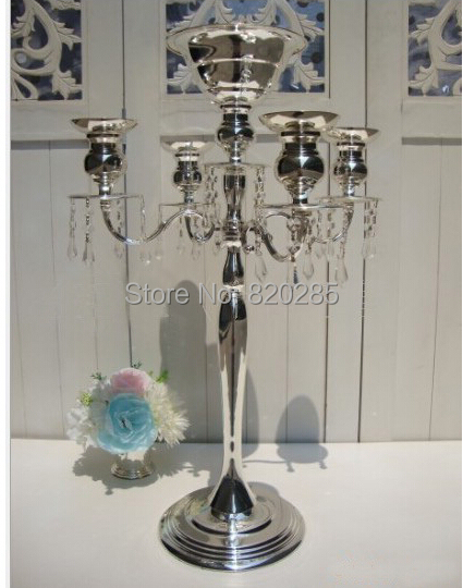H75cm * W48cm, 5 Heads Crystal Candelabra Candle Holder wedding - Home Decor - Photo 6