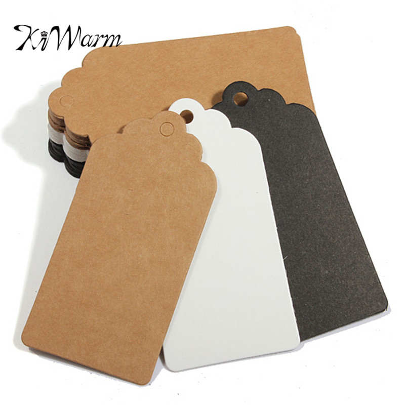 New Arrival 100pcs/Pack Kraft Paper Gift Blank Garment Tags Wedding Birthday Scallop Label Luggage Card About 10X5cm