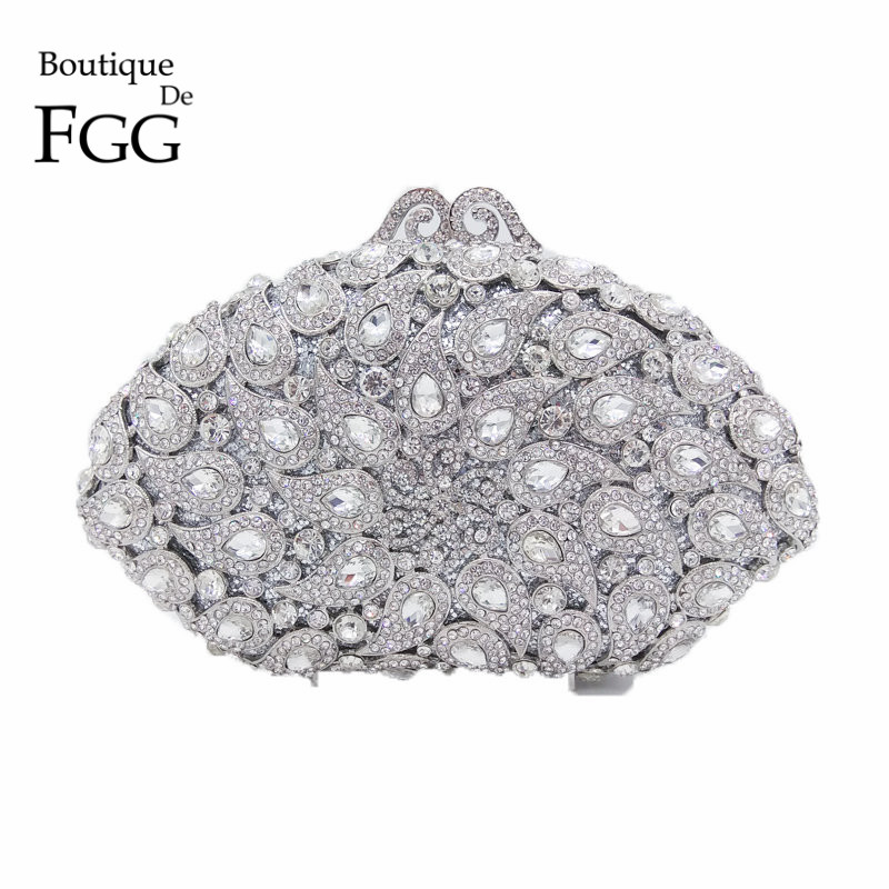 Silver Crystal Hollow Out Peacock Women Evening Clutch Bag Metal Party Minaudiere Handbags Purses Bridal Wedding Clutches Purse
