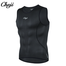 CHEJI  Mens Running Cycling Vest Gym Fitness Tight Shirts Sleeveless T-shirt Sport Tank Top Baselayer Quick Dry