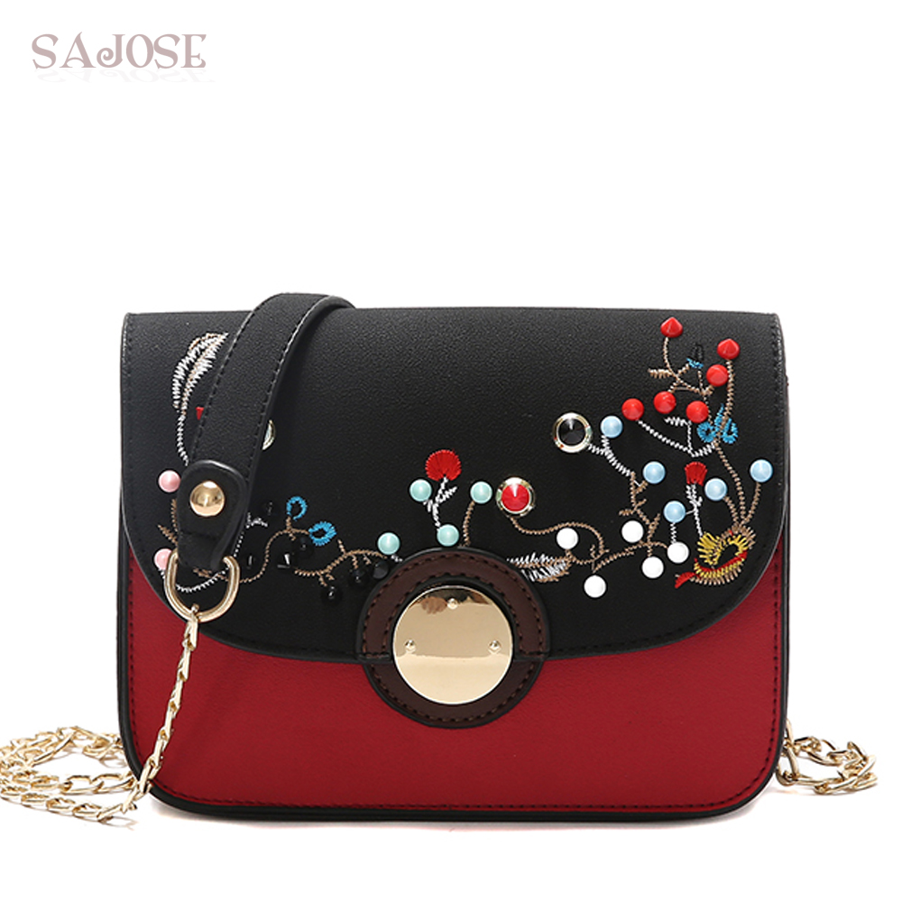 Crossbody Bags For Women PU Leather Fashion Chain Messenger Shoulder Stitching Colored Rivets Girl Designer Lady Handbag SAJOSE