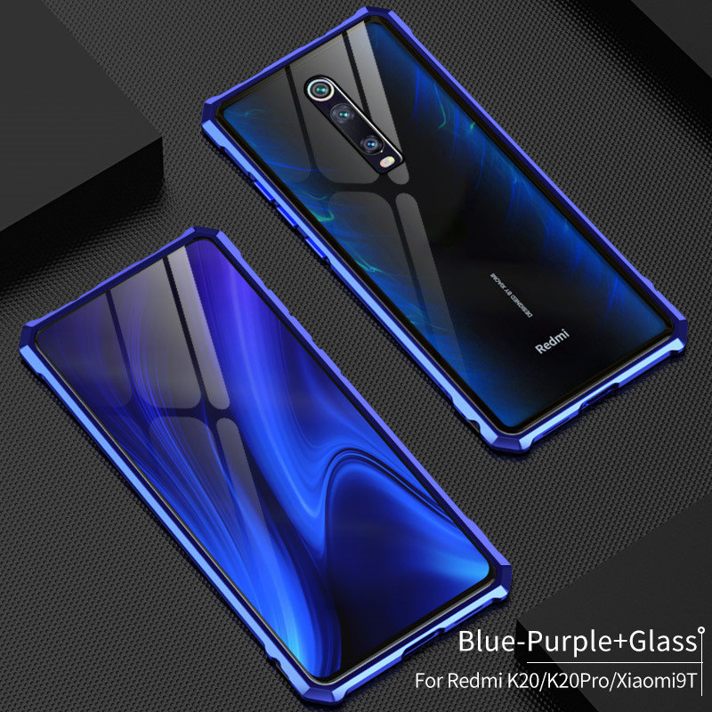 For Xiaomi Redmi K20 Pro Case Mi9T Bumper Metal Aluminum Frame Cover with Glass Back Cover Case for Xiaomi Mi 9T Redmi K20 Pro image