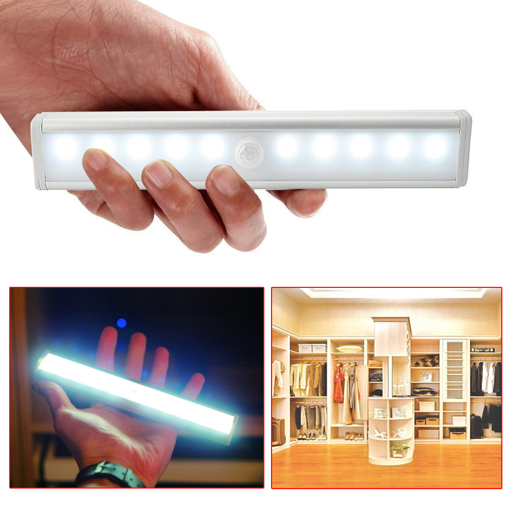 Cool White/Warm White Color Wireless PIR Motion Sensor Lamp Super Bright 10 LED Battery Powered Cabinet Drawer Night Light