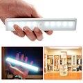 Frio/quente cor branca sem fio pir motion sensor lâmpada super bright 10 led alimentado por bateria gaveta do armário luz da noite