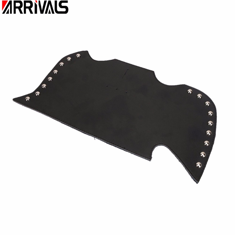 Black Leather Heat Saddle Shield Deflectors Raised Studs For Harley Touring Softail Dyna Or Sportster Bikes