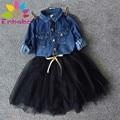 Enbaba девочек dress зимние случайные дети wedding dress для девочек джинсовая куртка с Длинным рукавом + Черный юбки костюмы vestido infantil