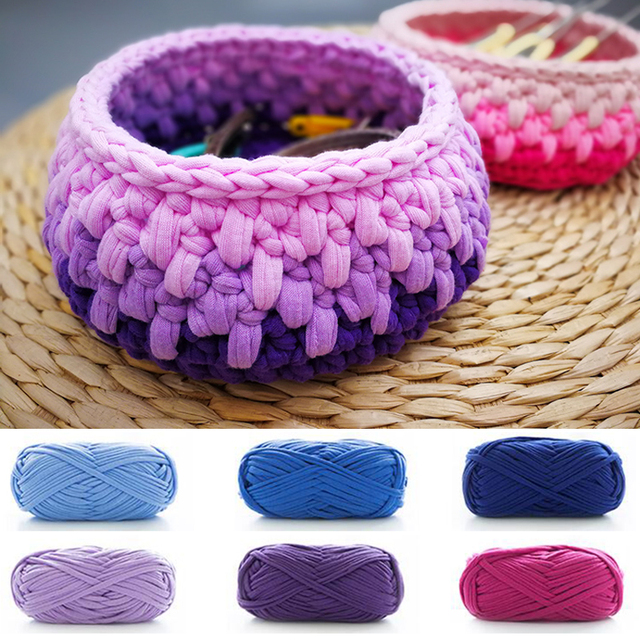 5pcs Woolen Yarn Diy Knitting Wool For Rugs Woven Thread Cotton Cloth Hand Crocheted Basket